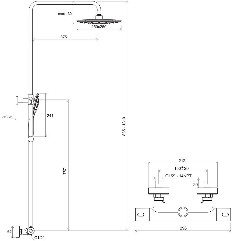 Columna de ducha Termo 300, con mezclador termostático y ...